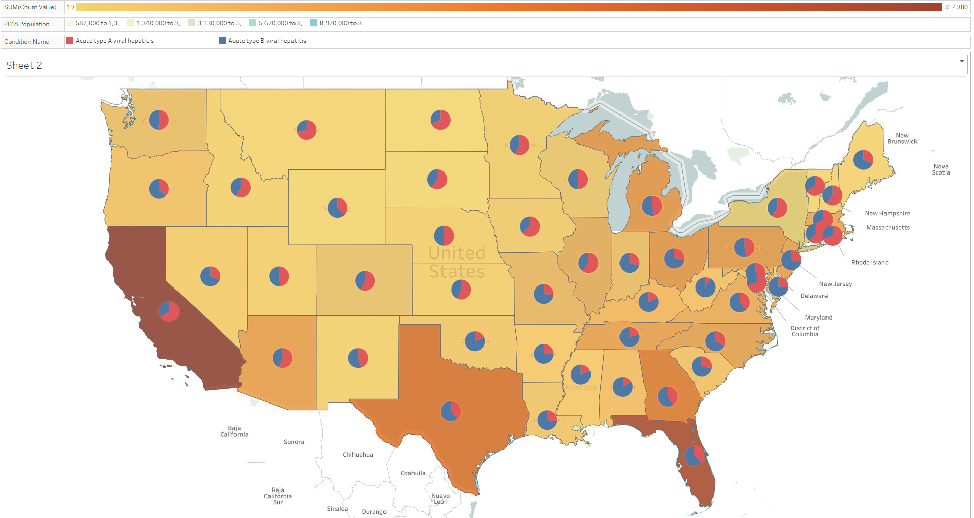 Pie Map Chart Acute A And B Viral Hepatitis In The Us Visual - Us-map-chart