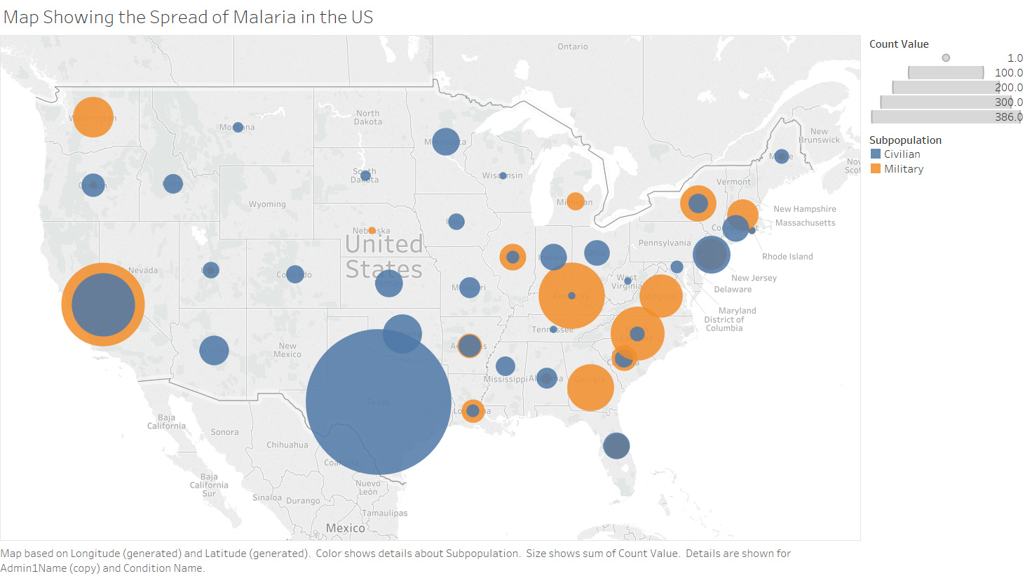 Visualisation Map Showing the Spread of Malaria across the United ...